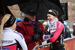 Thalita de Jong (NED) keeps dry ahead of Driedaagse Brugge - De Panne 2018 - a 151.7 km road race from Brugge to De Panne on March 22, 2018. Photo by Sean Robinson/Velofocus.com