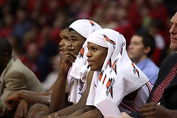 "12 January 2008: Osiris Eldridge (l) and Keith ""Boo"" Richardson cool off on the bench during a game in which  the Purple Aces of the University of Evansville lost to  the Redbirds of Illinois State on Doug Collins Court at Redbird Arena in Normal Illinois by a score of 74-66."