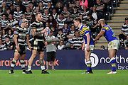 Hull FC back row forward Dean Hadley (11) with the ball in hand  during the Betfred Super League match between Hull FC and Leeds Rhinos at Kingston Communications Stadium, Hull, United Kingdom on 19 April 2018. Picture by Mick Atkins.