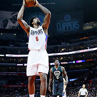 16 December 2015: Los Angeles Clippers center DeAndre Jordan (6) goes for the dunk during the Los Angeles Clippers 103-90 victory over the Milwaukee Bucks, at the Staples Center, Los Angeles, California, USA.