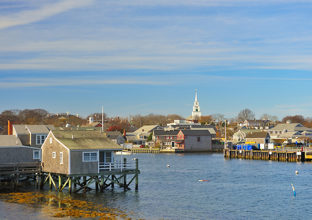 View of the island arriving at Nantucket Harbor in the Autumn with First Congregational Church Steeple in the distance, Nantucket, Massachusetts, USA, 2010.