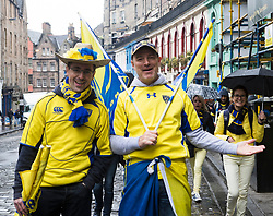 Rugby fans arrive in Edinburgh for the Champions Cup Final between Clermont Auvergne and Saracens taking place at Murrayfield Stadium