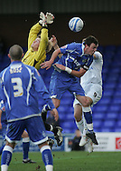 Stockport - Saturday October 31st 2009: Owain Fon Williams of Stockport County driops his catch that resulted in Grant Holt of Norwich City scoring the opening goal during the Coca Cola League One match at Edgeley Park, Stockport. (Pic by Michael SedgwickFocus Images)