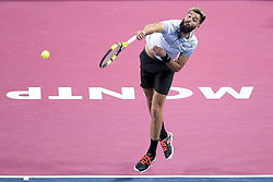 February 6, 2019 - Montpellier, France - BENOIT PAIRE serves during Open Sud de France: Day 4. (Credit Image: © Panoramic via ZUMA Press)
