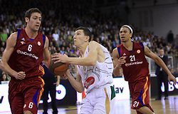 Angelo Gigli (6), Vlado Ilievski (7) and Ibrahim Jaaber (21) at basketball match of 3rd Round of Euroleague between KK Union Olimpija (SLO) and Lottomatica Roma (ITA), in Arena Tivoli, Ljubljana, Slovenia, on November 6, 2008. Lottomatica  won the match 78:67.