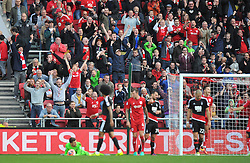 Bristol City supporters celebrate after Frank Fielding makes a last minute save to secure their 2-1 win against Nottingham Forest - Mandatory by-line: Paul Knight/JMP - 01/10/2016 - FOOTBALL - Ashton Gate Stadium - Bristol, England - Bristol City v Nottingham Forest - Sky Bet Championship