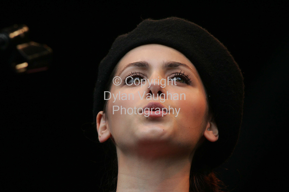 18/7/2004.Katie Melua pictured on stage at the Smithwicks Sourc e festival in Nowlan Park Kilkenny yesterday..Picture Dylan Vaughan
