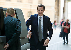 © Licensed to London News Pictures. 06/09/2015. London, UK. British Chancellor, GEORGE OSBORNE arriving at BBC Broadcasting House in London to appear on The Andrew Marr Show, on which the migrant crisis is expected to be the main topic. Photo credit: Ben Cawthra/LNP