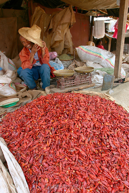 """ADDIS ABABA, ETHIOPIA..The """"Mercato"""", biggest market between Cairo and Cape Town. Dried chili peppers..(Photo by Heimo Aga)"""
