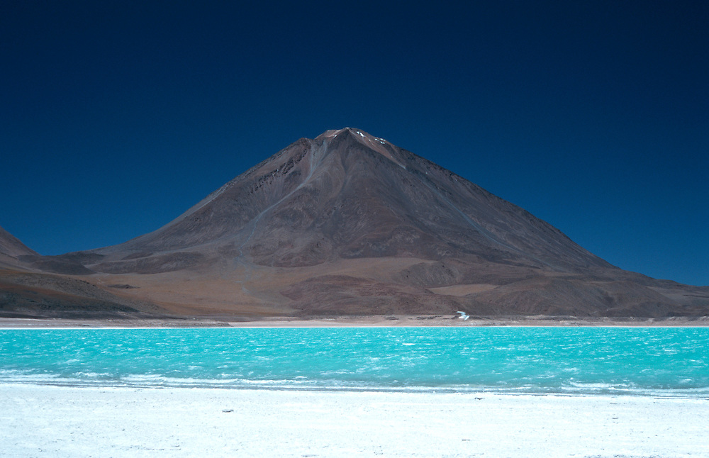 Laguna Verde, turquoise shinning vulcanic lake,vulcano in the background,Altiplano,Bolivia