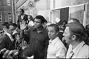 15/07/1972<br /> 07/15/1972<br /> 15 July 1972<br /> Muhammad Ali at Stewarts Hospital Fete, Palmerstown, Dublin. Ali greets the crowds with some of the crowd and members of his entourage.