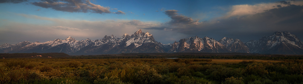Cloudy Sunrise pano in Grand Teton National Park