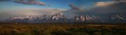 Cloudy Sunrise pano in Grand Teton National Park