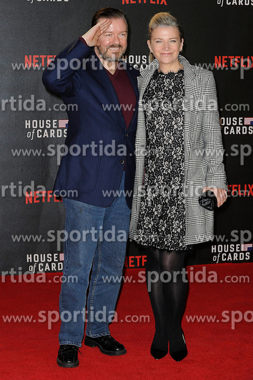 Ricky Gervais and Jane Fallen attends the World Premiere of 'House of Cards' Season 3 at The Empire Cinema on February 26, 2015 in London, England. EXPA Pictures &copy; 2015, PhotoCredit: EXPA/ Photoshot/ Euan Cherry<br /> <br /> *****ATTENTION - for AUT, SLO, CRO, SRB, BIH, MAZ only*****