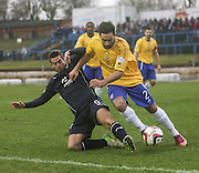 Cowdenbeath's Rory McKeown and Dundee's Peter MacDonald tussle for the ball - Cowdenbeath v Dundee, SPFL Championship at Central Park<br /> <br />  - &copy; David Young - www.davidyoungphoto.co.uk - email: davidyoungphoto@gmail.com