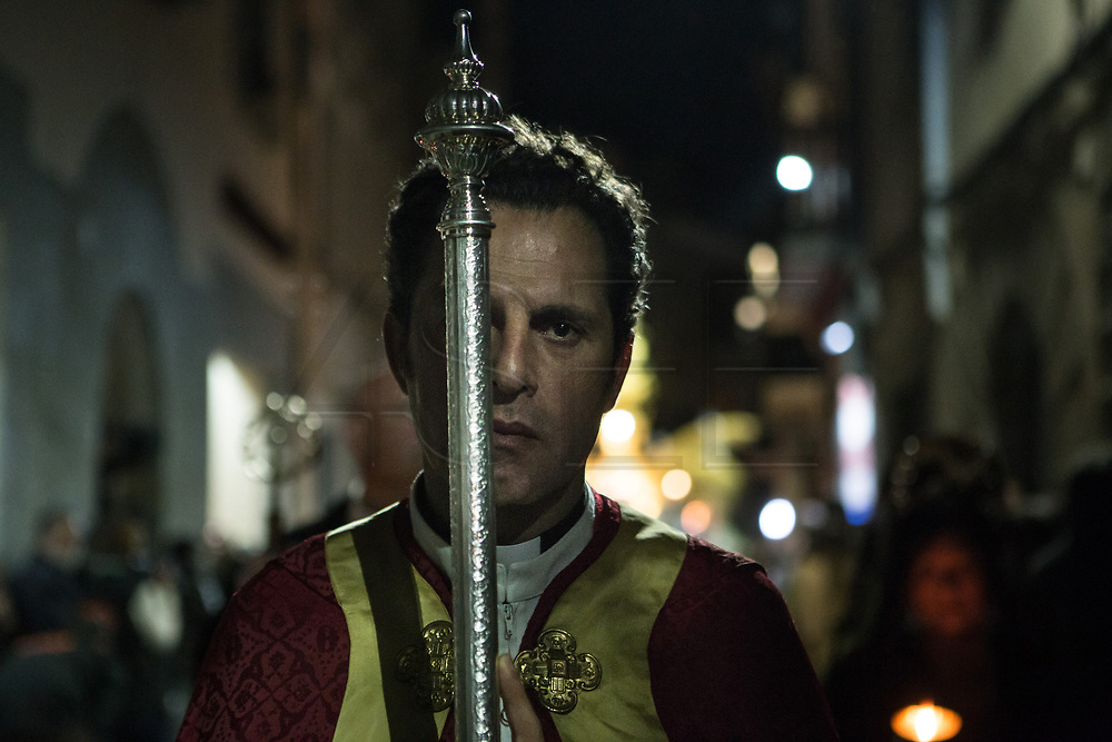 A priest in the General Procession of Good Friday considered<br /> Cultural Heritage of Matar&oacute; city (Barcelona, Spain) since 2013.  Easter 2015. Eva Parey/4SEE.