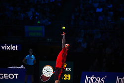 November 17, 2017 - London, England, United Kingdom - Dominic Thiem of Austria serves in his Singles match against David Goffin of Belgium during day six of the Nitto ATP World Tour Finals at O2 Arena on November 17, 2017 in London, England. (Credit Image: © Alberto Pezzali/NurPhoto via ZUMA Press)