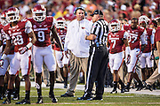 FAYETTEVILLE, AR - SEPTEMBER 28:  Head Coach Bret Bielema of the Arkansas Razorbacks on the sidelines during a game against the Texas A&M Aggies at Razorback Stadium on September 28, 2013 in Fayetteville, Arkansas.  The Aggies defeated the Razorbacks 45-33.  (Photo by Wesley Hitt/Getty Images) *** Local Caption *** Bret Bielema