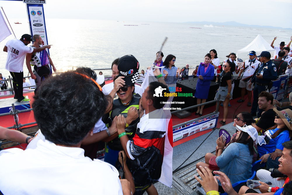 PATTAYA, THAILAND - DECEMBER 09: Hajime Isahai (J87) of Japan and Marine Mechanic reaction after hearing the official result announcement during the Royal Trophy presentation for the Pro Runabout GP at the Thai Airways International Jet Ski World Cup 2018, Jomtien Beach, Pattaya, Thailand on December 09, 2018. <br /> .<br /> .<br /> .<br /> (Photo by: Naratip Golf Srisupab/SEALs Sports Images)<br /> .<br /> Any image use must include a mandatory credit line adjacent to the content which should read: Naratip Golf Srisupab/SEALs Sports Images