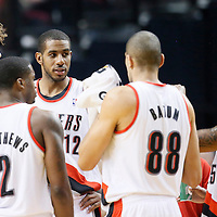 06 December 2013: Portland Trail Blazers center Robin Lopez (42), Portland Trail Blazers power forward LaMarcus Aldridge (12), Portland Trail Blazers shooting guard Wesley Matthews (2), Portland Trail Blazers small forward Nicolas Batum (88) and Portland Trail Blazers point guard Mo Williams (25) are seen during the Portland Trail Blazers 130-98 victory over the Utah Jazz at the Moda Center, Portland, Oregon, USA.