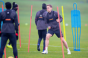 Hearts captain, Christophe Berra (centre) returns to training for the first time since his hamstring injury, ahead of the SPFL Premiership match between Hearts v St Mirren at Oriam Sports Performance Centre, Riccarton, Edinburgh, Scotland on 22 November 2018.