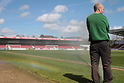 Northampton groundsman operating the sprinkler system before the Sky Bet League 2 match between Northampton Town and Bristol Rovers at Sixfields Stadium, Northampton, England on 9 April 2016. Photo by Nigel Cole.