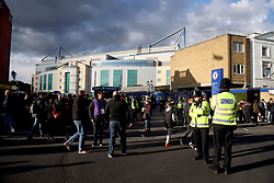 Police presence outside the ground before the Premier League match at Stamford Bridge, London.