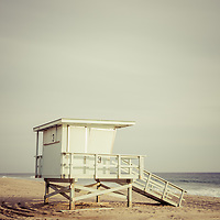 Zuma Beach lifeguard tower #3 in Malibu California. Photo is high resolution and has a retro 1970s tone.
