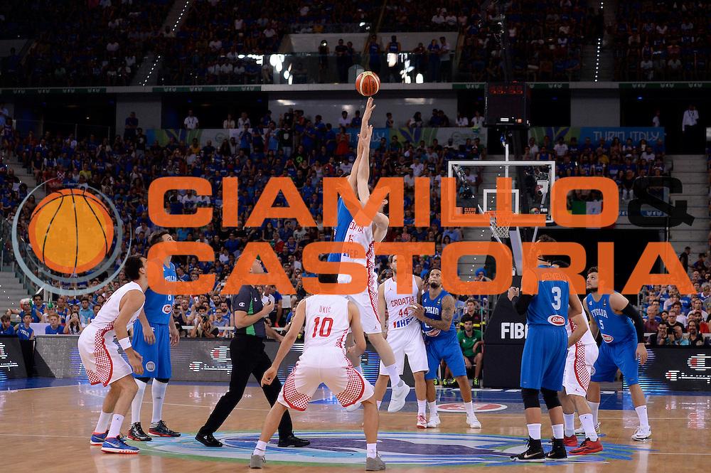 DESCRIZIONE: Torino Turin 2016 FIBA Olympic Qualifying Tournament Finale Final Italia Croazia Italy Croatia<br /> GIOCATORE : Andrea Bargnani<br /> CATEGORIA : contesa<br /> SQUADRA : Italia Italy<br /> EVENTO : 2016 FIBA Olympic Qualifying Tournament <br /> GARA : 2016 FIBA Olympic Qualifying Tournament Finale Final Italia Croazia Italy Croatia<br /> DATA : 09/07/2016<br /> SPORT: Pallacanestro<br /> AUTORE : Agenzia Ciamillo-Castoria/Max.Ceretti <br /> Galleria : 2016 FIBA Olympic Qualifying Tournament <br /> Fotonotizia : Torino Turin 2016 FIBA Olympic Qualifying Tournament Finale Final Italia Croazia Italy Croatia<br /> Predefinita :