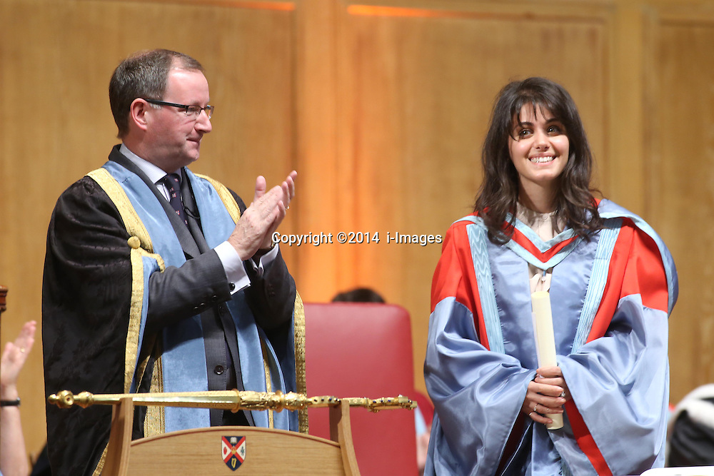 Image ©Licensed to i-Images Picture Agency. 05/07/2014. Northern Ireland, President and Vice-Chancellor Professor Patrick G Johnston conferres the Singer Katie Melua during Graduation at Queen's University Belfast. Picture by i-Images