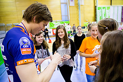 Jan Klobucar of ACH with his fans after the volleyball game between OK Panvita Pomgrad and ACH Volley in Final of 1st DOL Slovenian National Championship 2014, on April 15, 2014 in Murska Sobota, Slovenia. ACH won 3-1 and became Slovenian Volleyball Champion 2014. Photo by Vid Ponikvar / Sportida