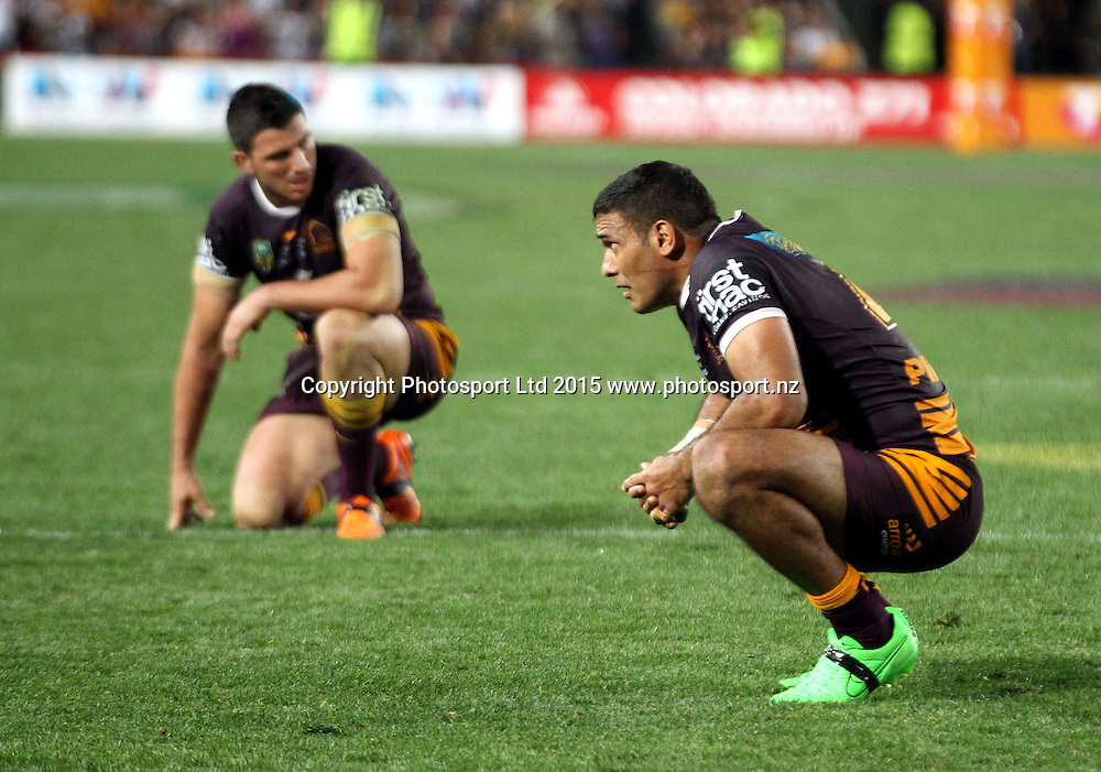 Justin Hodges dejected <br /> Broncos v Cowboys NRL Grand Final rugby league match at ANZ Stadium, Homebush Australia. Sunday 4 October 2015. Photo: Paul Seiser/Photosport.nz