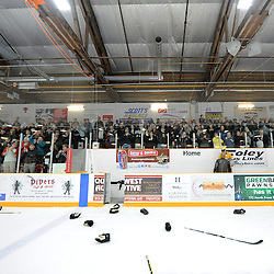 TRENTON, ON - Apr 22, 2016 -  Ontario Junior Hockey League game action between the against the Trenton Golden Hawks and the Georgetown Raiders. Game 5 of the Buckland Cup Championship Series, at the Duncan Memorial Gardens in Trenton, Ontario. Trenton Golden Hawks fans salute the team with a standing ovation.<br /> (Photo by Andy Corneau / OJHL Images)
