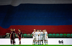 Players of Slovenia celebrate after scoring first goal during the 2020 UEFA European Championships group G qualifying match between Slovenia and Latvia at SRC Stozice on November 19, 2019 in Ljubljana, Slovenia. Photo by Vid Ponikvar / Sportida