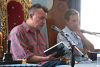Irish crime writers Declan Hughes and Declan Burke discuss 'Emerald Noir', current Irish crime fiction at the Dalkey Book Festival, Dalkey, County Dublin, Ireland. Saturday 21st June 2014.