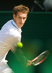 LONDON, ENGLAND - Wednesday, July 1, 2009: Andy Murray (GBR) during the Gentlemen's Singles Quarterfinal on day nine of the Wimbledon Lawn Tennis Championships at the All England Lawn Tennis and Croquet Club. (Pic by David Rawcliffe/Propaganda)