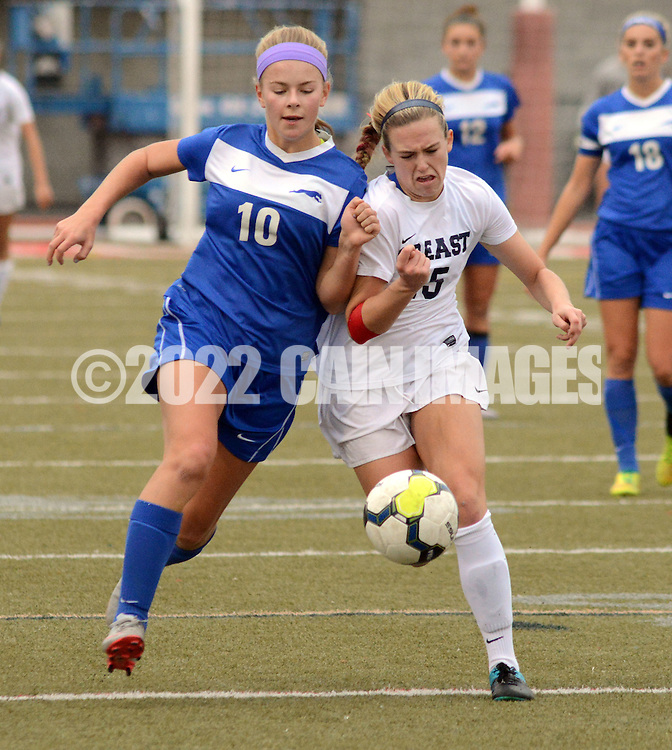 Downingtown West's Megan Lundmark #10 and CB East's Emma LiVolsi #15 collide as they chase a loose ball in the first half Saturday November 7, 2015 in Souderton, Pennsylvania.  (Photo by William Thomas Cain)