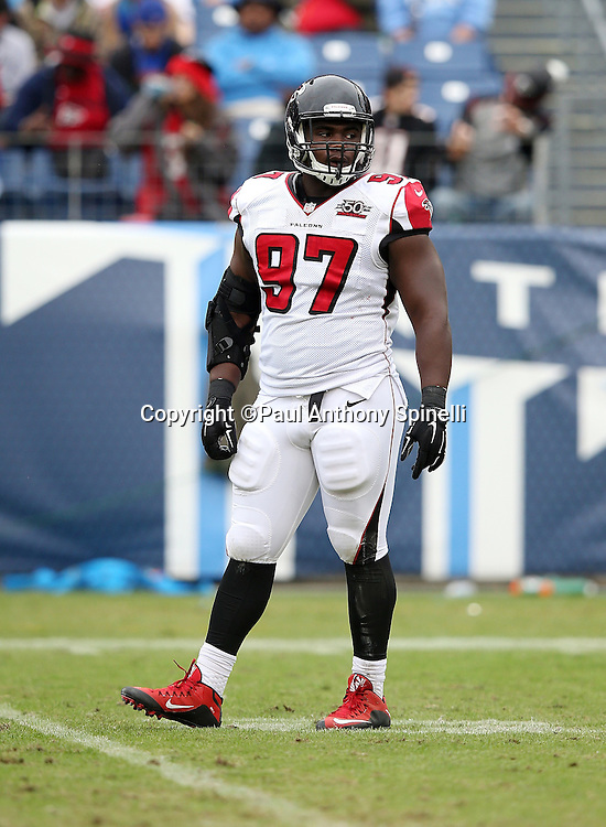 Atlanta Falcons defensive tackle Grady Jarrett (97) looks on during the 2015 week 7 regular season NFL football game against the Tennessee Titans on Sunday, Oct. 25, 2015 in Nashville, Tenn. The Falcons won the game 10-7. (©Paul Anthony Spinelli)