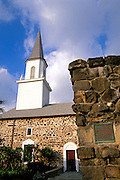 Evening light on Mokuaikaua Church (first Christian church in Hawaii), Kailua-Kona, The Big Island, Hawaii