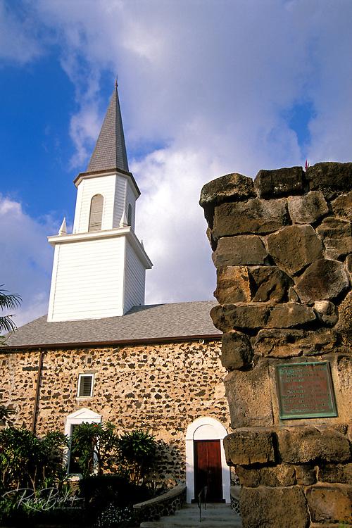 Evening light on Mokuaikaua Church (first Christian church in Hawaii), Kailua-Kona, The Big Island, Hawaii