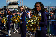 Los Angeles Chargers Cheerleaders entertain the crowds in the tailgate at the International Series match between Tennessee Titans and Los Angeles Chargers at Wembley Stadium, London, England on 21 October 2018.