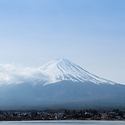 Mount Fuji as seen from Lake Kawaguchi
