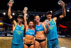 Winners Dalida Vernier with Kelly Claes and Nejc Zemljak and Jan Pokersnik at Beach Volleyball Challenge Ljubljana 2014, on August 2, 2014 in Kongresni trg, Ljubljana, Slovenia. Photo by Matic Klansek Velej / Sportida.com