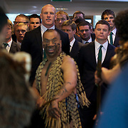 """The Irish team led by Brian O""""Driscoll (right) and Paul O""""Connell are greeted by an official Maori welcome during their Civic welcome at Skyline.  Queenstown, New Zealand, 4th September 2011. Photo Tim Clayton..."""