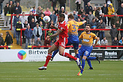Ben Richards-Everton of Accrington Stanley and Mansfield's Danny Rose during the EFL Sky Bet League 2 match between Accrington Stanley and Mansfield Town at the Fraser Eagle Stadium, Accrington, England on 19 August 2017. Photo by John Potts.