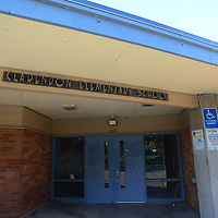 Former entrance of the Clarendon Elementary School.