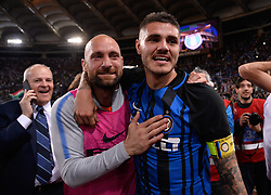 May 20, 2018 - Rome, Italy - Mauro Icardi celebrates the victory after the Italian Serie A football match between S.S. Lazio and F.C. Inter at the Olympic Stadium in Rome, on may 20, 2018. (Credit Image: © Silvia Lore/NurPhoto via ZUMA Press)