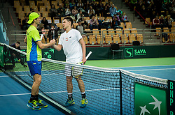 Blaz Rola of Slovenia and Kamil Majchrzak of Poland  during the Day 1 of Davis Cup 2018 Europe/Africa zone Group II between Slovenia and Poland, on February 3, 2018 in Arena Lukna, Maribor, Slovenia. Photo by Vid Ponikvar / Sportida