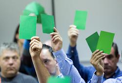Voting during general assembly of Slovenian Handball Federation - RZS, on October 15, 2014 in RZS, Ljubljana, Slovenia. Photo by Vid Ponikvar / Sportida.com