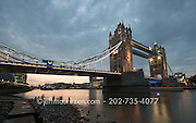 Sunset at the Tower Bridge and River Thames in London, England.